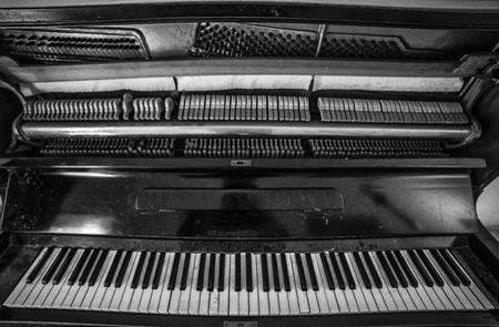 Ultra wide angle shot of an old piano