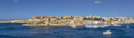 Kalkara Point, with the old Bighi Hospital and lift, as seen from Vittoriosa