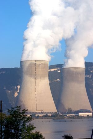 Nuclear cooling towers in La Coucourde France
