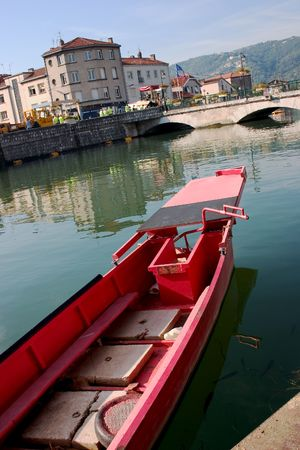 rhone: Beautiful town of St. Vallier France, the Rhone a nice boat and even a few fish.