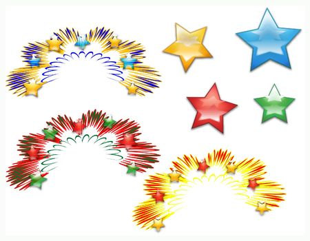 Fireworks burst illustration from original vector. Collection of design elements for holiday celebrations. Stock Illustration - 268326