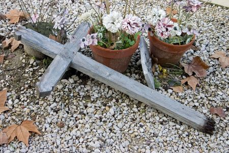 gravesite: Poignant image of a neglected gravesite. Stock Photo