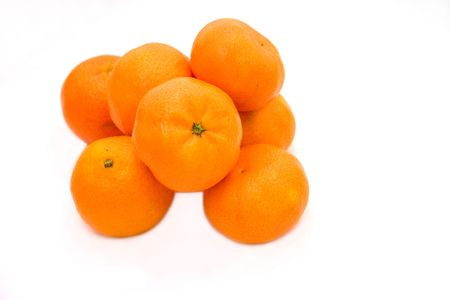 clementines: Bunch of clementines isolated over white Stock Photo