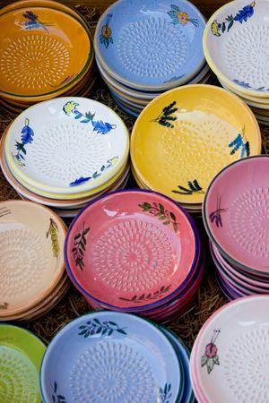 ware: Colorful display of Provence ceramic ware Stock Photo