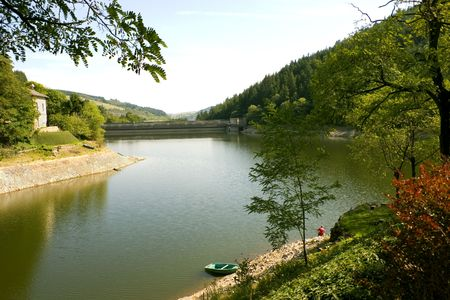 loire: A peaceful scenic of one of the tributaries of the Loire River southwest of Orl�ans, France.