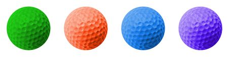4 colored golf balls: green, orange, blue and purple