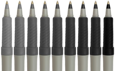 ranging: 9 pens ranging from light gray to black