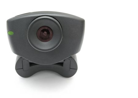 A black USB Internet Webcam with red lens and green led light photo