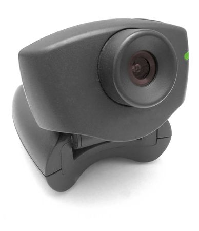 peripherals: A black USB Internet Webcam with red lens and green led light Stock Photo