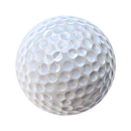 White golf ball isolated on white background. Very neat and crisp.