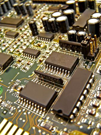 close up of circuit board and elements