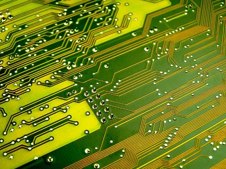 close up of green circuit board paths Stock Photo