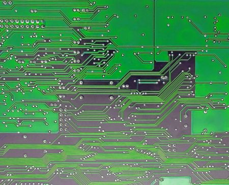 Detail of circuit board, solderings, paths.