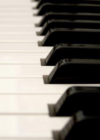 acoustically: close up of piano keys