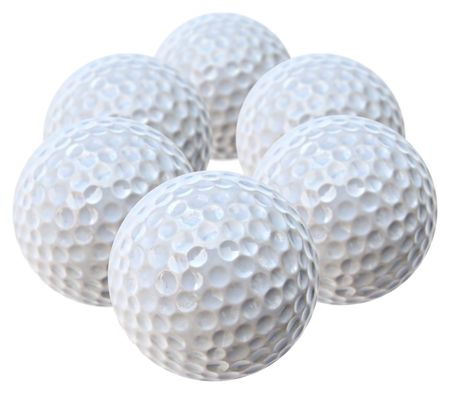 six white golf balls arranged like an hexagon Stock Photo