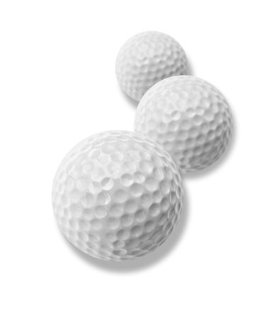 three white golf balls with drop shadow