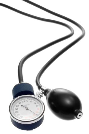 A sphygmomanometers pump and pressure gauge connected to their black rubber hose. Isolated on white.