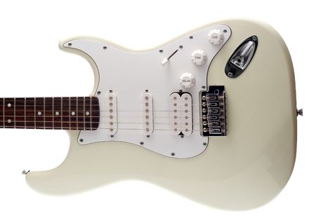 pickups: The body of a white electric guitar. Isolated on White. Stock Photo