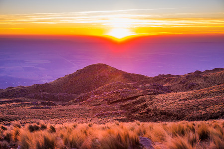 A beautiful sunset captured from the top of a mountain. Wonderful colors. photo