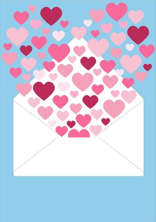 escaping: Open envelope with fluttering small hearts escaping to form a larger heart.
