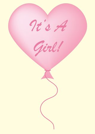 its: Its a girl balloon on pastel yellow background. Stock Photo