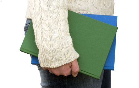 skoal: Person carrying books by their side. Stock Photo