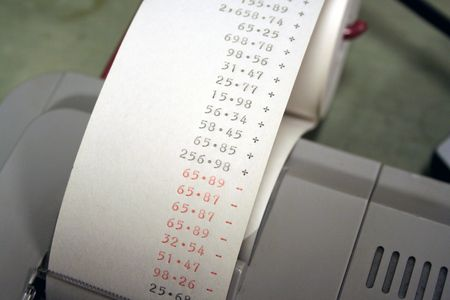 adding: Adding machine tape showing some numbers