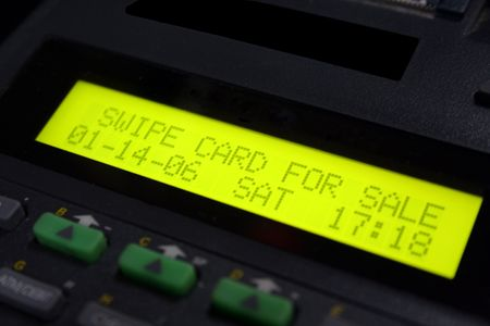 chip and pin: Credit card machine ready for the scan of your credit card Stock Photo