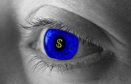 inferior: Blue eye with a money symbol in the middle