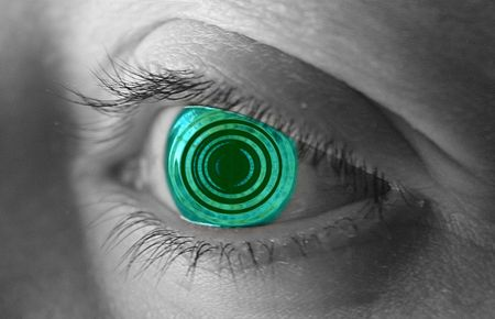 ripple effect: Green eye with a ripple effect