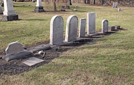 headstones: Old headstones. Most from the 1800s Very spooky here Stock Photo
