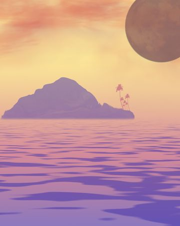 A ocean scene with a silhouette of a island with some palm trees, also the moon is in the background Stock Photo - 344413