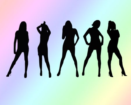 hanging out: A group of five women hanging out silhouettes Stock Photo
