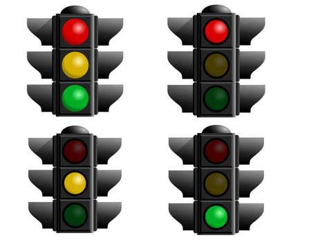 luz roja: Un conjunto de cuatro luces para detener su vector dise�os. Una precauci�n luz, la luz roja, luz verde y luz amarilla  Foto de archivo