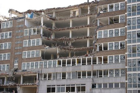 A Building In The Process Of Being Demolished Stock Photo