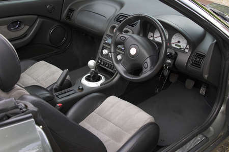 inside of: A sports car interior