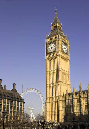 london eye: Big Ben and London Eye, Westminster, London, England