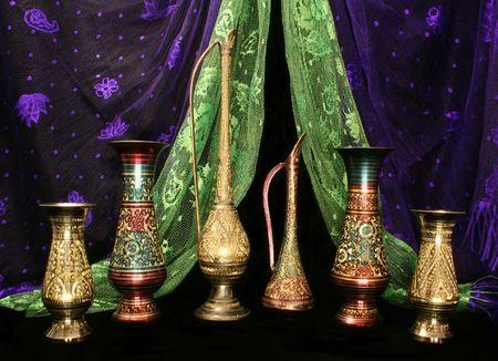Metal Vases and Silk Scarves From The Middle East Stock Photo