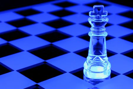 Chess Board with King under Black Light