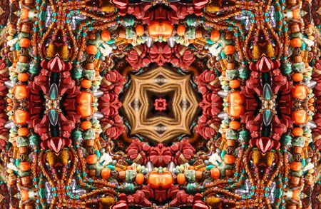 Native American Styled Abstract Background With Beads