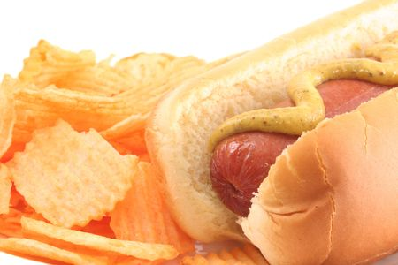 hot dogs: hot Dog With Mustard and Potato Chips Stock Photo