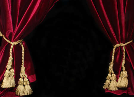 drapes: Black Background With Red Velvet Drapes and Gold Tassel