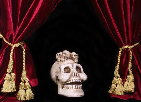 house of worship: Black Background With Red Velvet Drapes and Skull