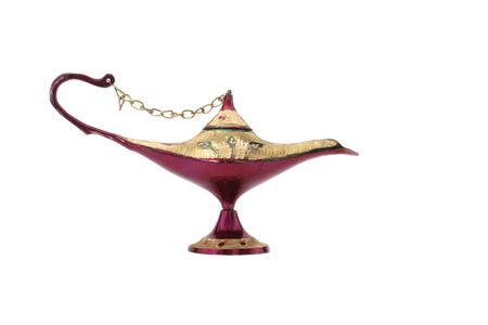 jinn: Old Oil Lamp From The Middle East Isolated on White Background Stock Photo