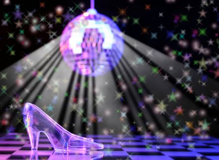 Glass Slipper With Disco Ball in Background,  Shallow DOF Stock Photo - 622052