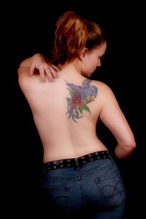 topless jeans: Girl With Tattoo