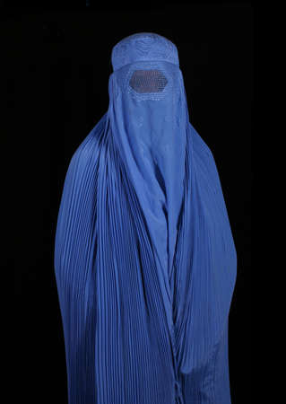 sheild: Woman From Afghanistan on Black Background