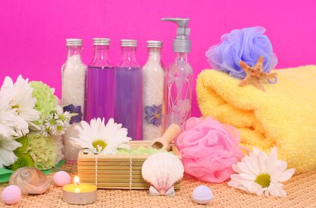 Bath and Spa Products with flowers on Pink Background Stock Photo - 861422