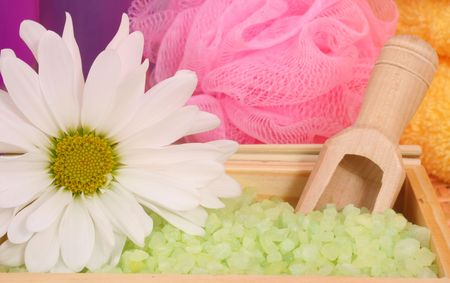 Green Tea Bath Salts With Flower and Pink Sponge Stock Photo