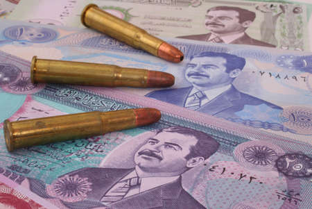 iraq money: Currency From Iraq With Three Bullets, lose-up